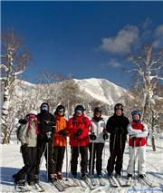 The Gang on West Mt, Rusutsu with Shiribetsudake in the background\r\n(l-r Olga, Al, Hayden, Neil, Ria, Craig, Alex), uploaded by Mike Pow  [Rusutsu Resort, Rusutsu Village, Hokkaido]