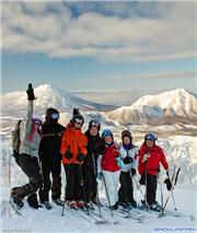 The Gang on East Mt, Rusutsu with Mt yotei and Shiribetsudake in the background\r\n(l-r Olga, Al, Hayden, Craig, Alex, Ria, Neil), uploaded by Mike Pow  [Rusutsu Resort, Rusutsu Village, Hokkaido]