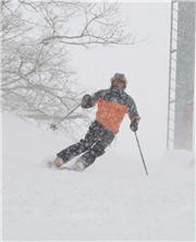 Rosco from Thredbo skis the groomed to the Gondola on a windy, overcast, snowy day in Hirafu. Photo - Randy Wieman, uploaded by NisekoNow  [Niseko Mountain Resort Grand Hirafu, Kutchan Town, Hokkaido]