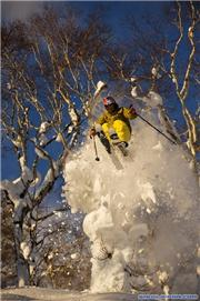 2008 world freeski champion Henrik Windstedt busting thru a Niseko pillow. Photo: Mattias Fredriksson\r\n(senior photog for Powder Magazine), uploaded by black diamond