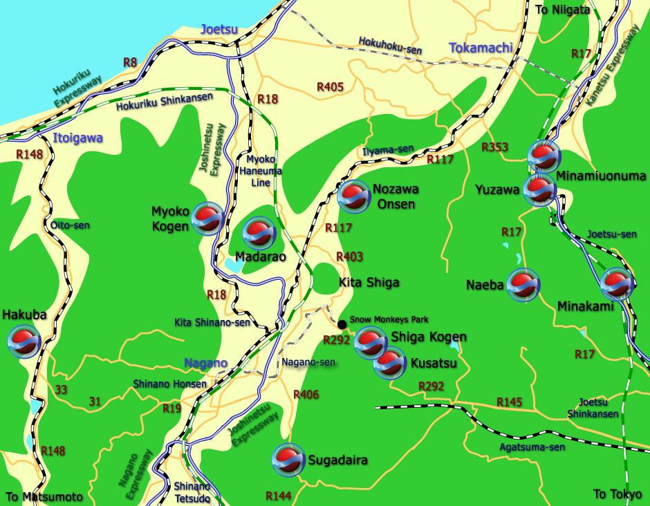 Joshinetsu Region Map GunmaNaganoNiigata Regional Maps - Joetsu map
