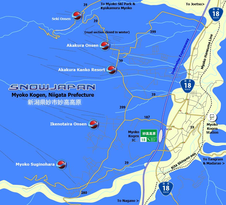 Myoko Kogen Map Myoko City Niigata Prefecture Town Maps