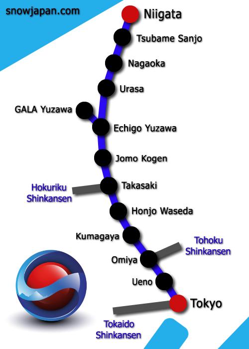 Joetsu Shinkansen Line Tokyo To Niigata Niigata Train Lines - Joetsu map